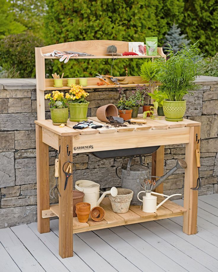 garden table potting bench - cedar potting table with soil sink and shelves FYIMRGE