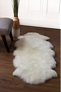 genuine australian sheepskin rug two pelt ivory fur, double PGQLYTF