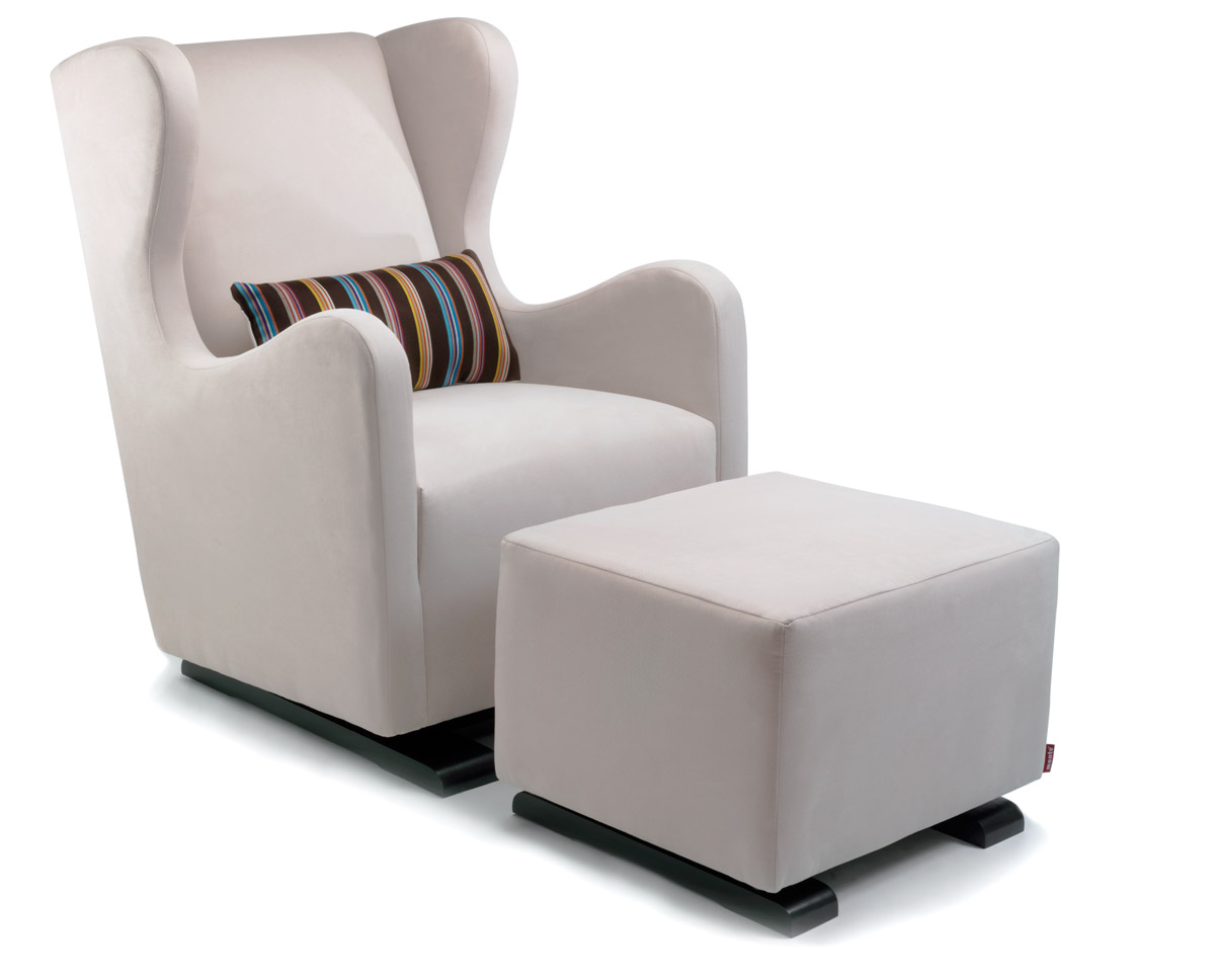glider chair modern vola glider and ottoman - stone with paul smith pillow fabric shown. VRWKQCX