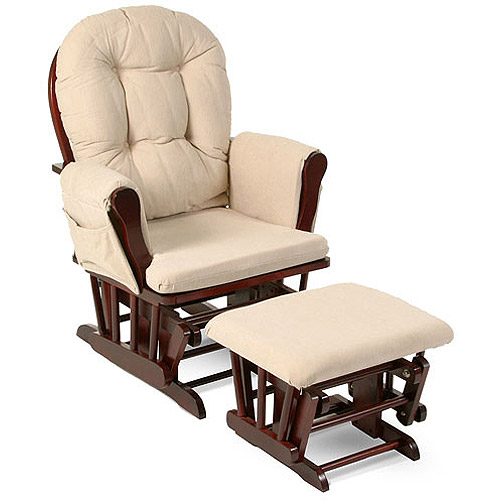 glider rocker storkcraft bowback glider and ottoman cherry finish and beige cushions HAQBQSN