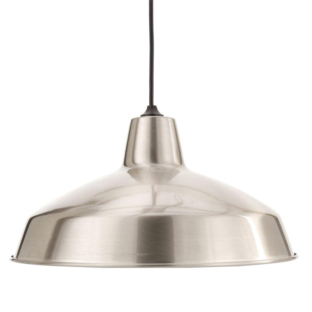 hanging lights 1-light brushed nickel warehouse pendant ODCHYTM