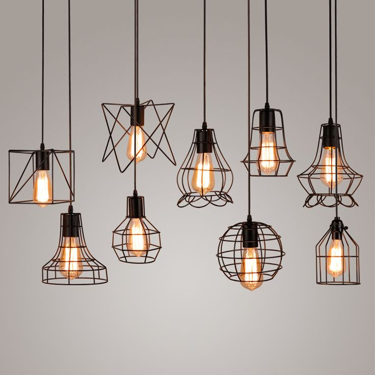 Hanging Lights Vintage Metal Cage Pendant Light Lamp Edison Bulb Lighting Fixture Kgdhonm
