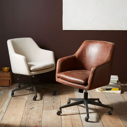 helvetica leather office chair | west elm GYDVODZ
