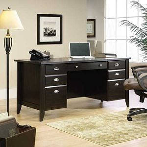 home office desks ... sauder wood executive desk - shoal creek SRKPFKB