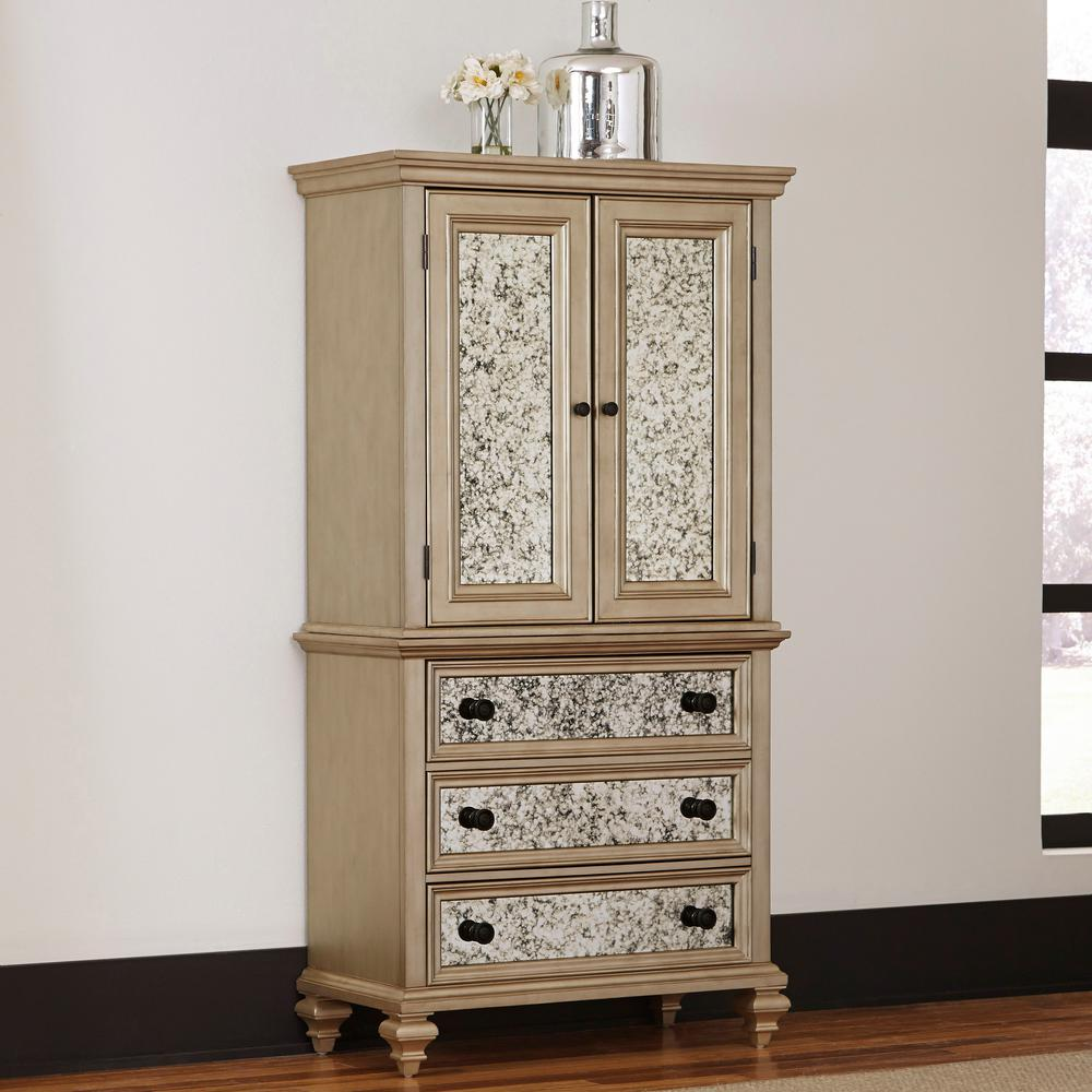 home styles visions silver gold champagne finish armoire WIREQJT