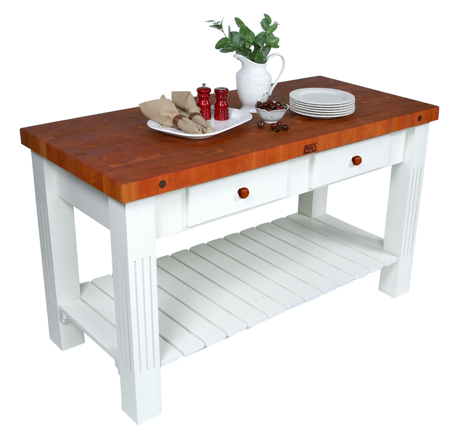 john boos cherry grazzi butcher block table - 2-1/4 ZQATGPB