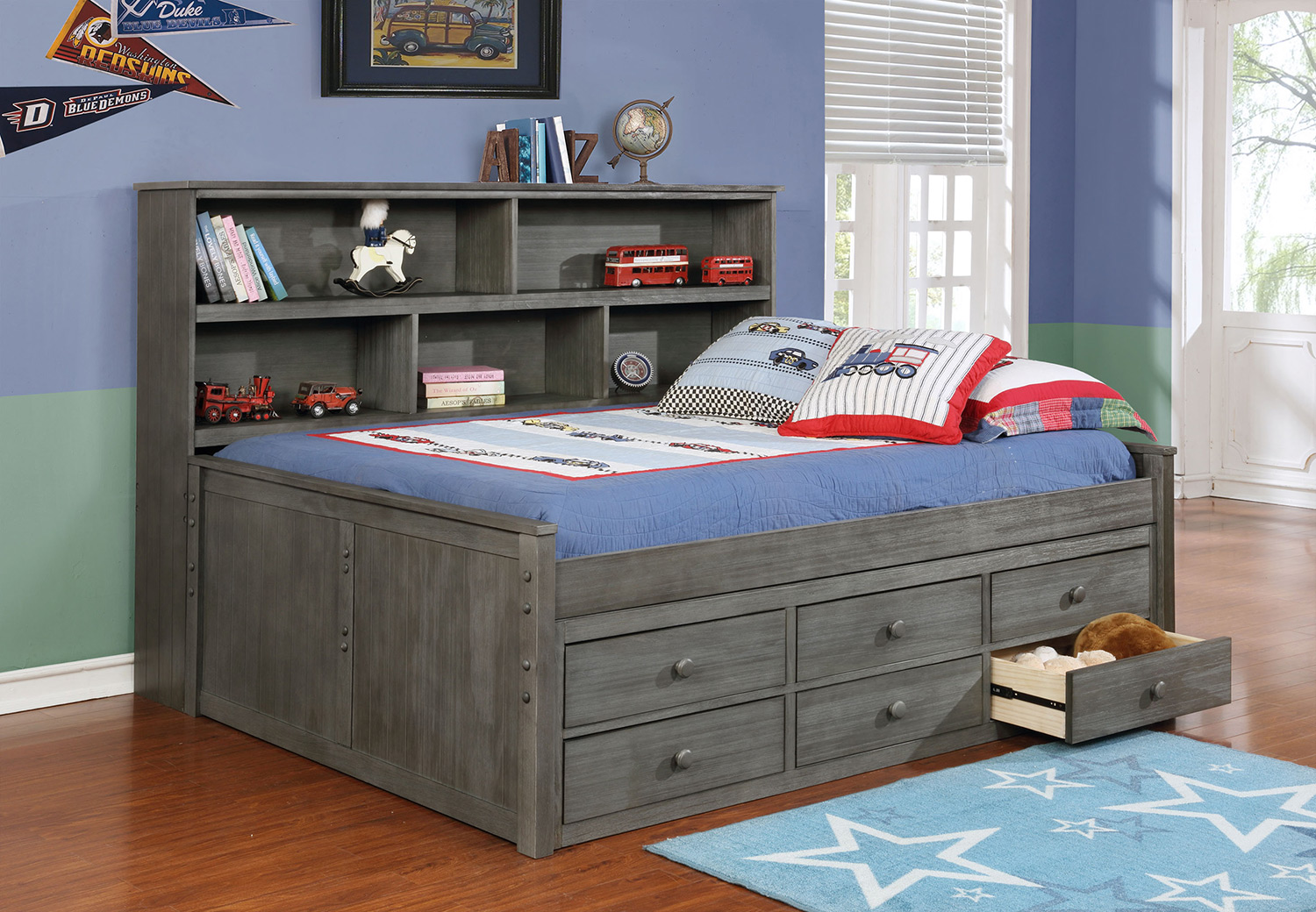 kids beds sideways full bed with waterford captainu0027s storage weathered grey OELLTAQ