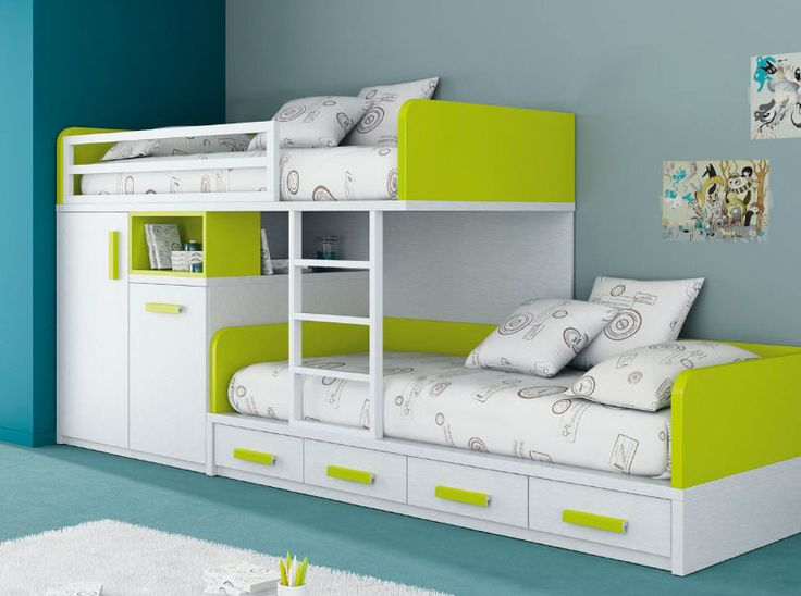 kids beds with storage for a tidy room : extraordinary white green bunk VELPKOC