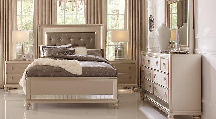 king size bedroom sets sofia vergara paris silver 5 pc king bedroom SHVFLRJ