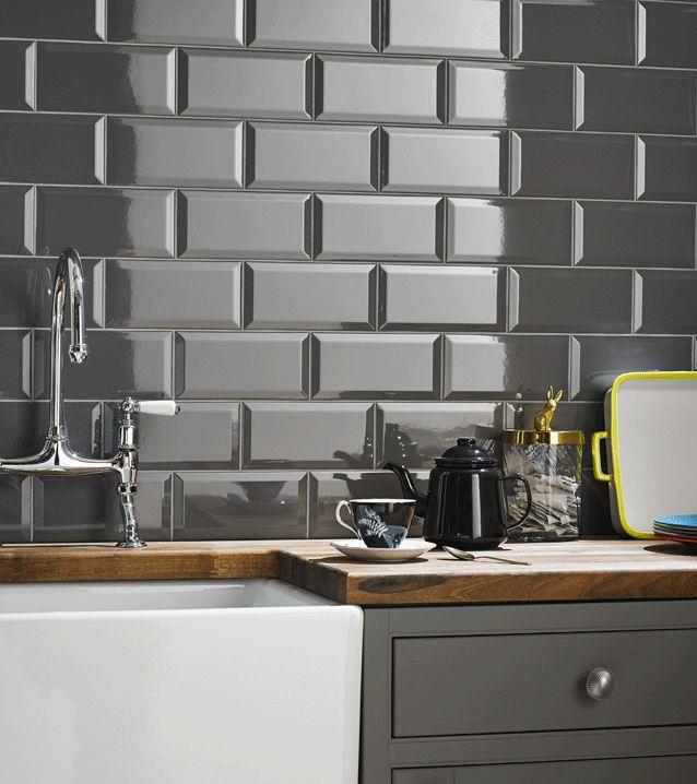 kitchen tiles grey kitchen wall tile beveled metro field 100mm x 200mm 50 per pack AFQCJPX