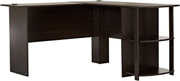 l shaped desk ameriwood home dakota l-shaped desk with bookshelves (espresso) TMEYHKR