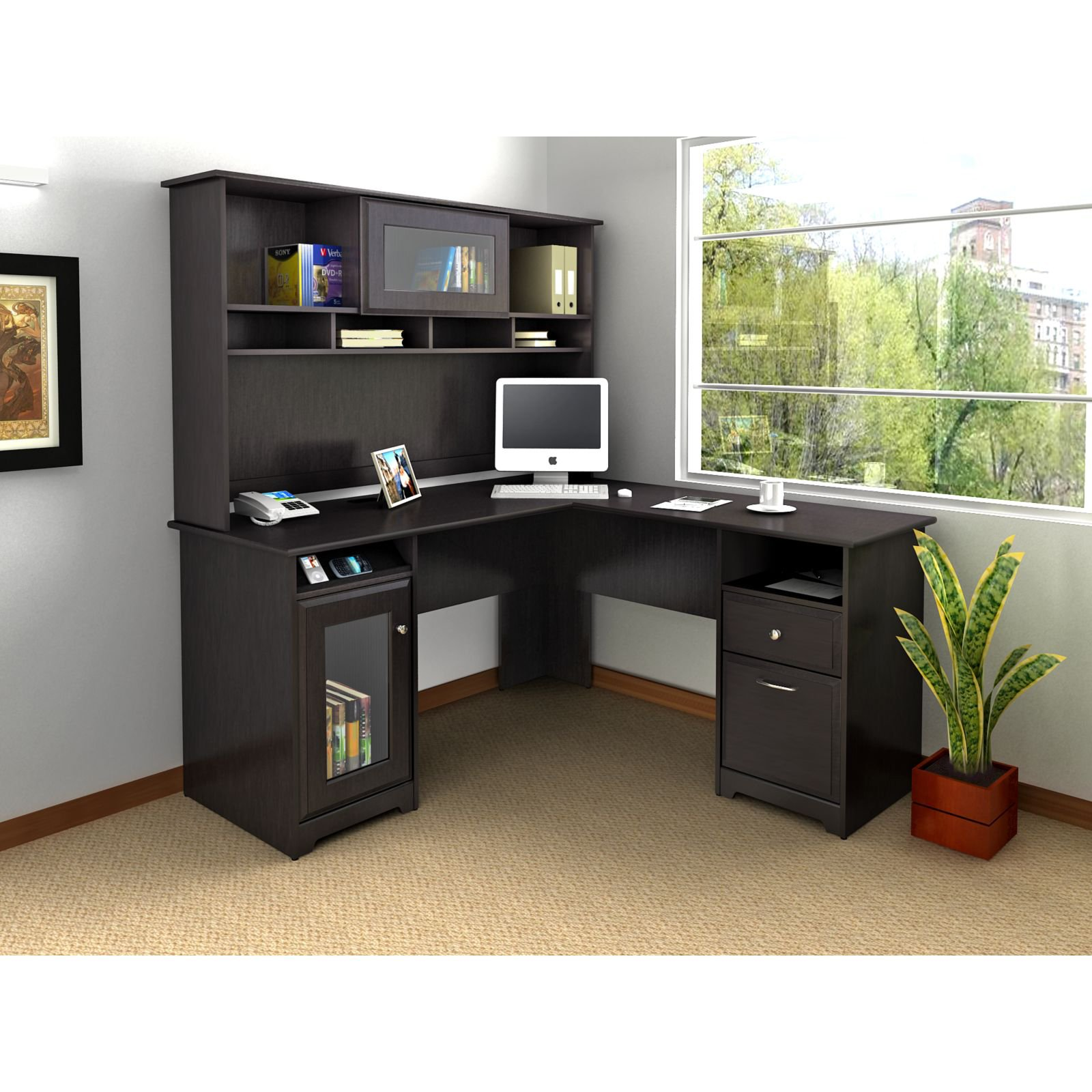 l shaped desk bush cabot l-shaped desk - desks at hayneedle RGQFUIV
