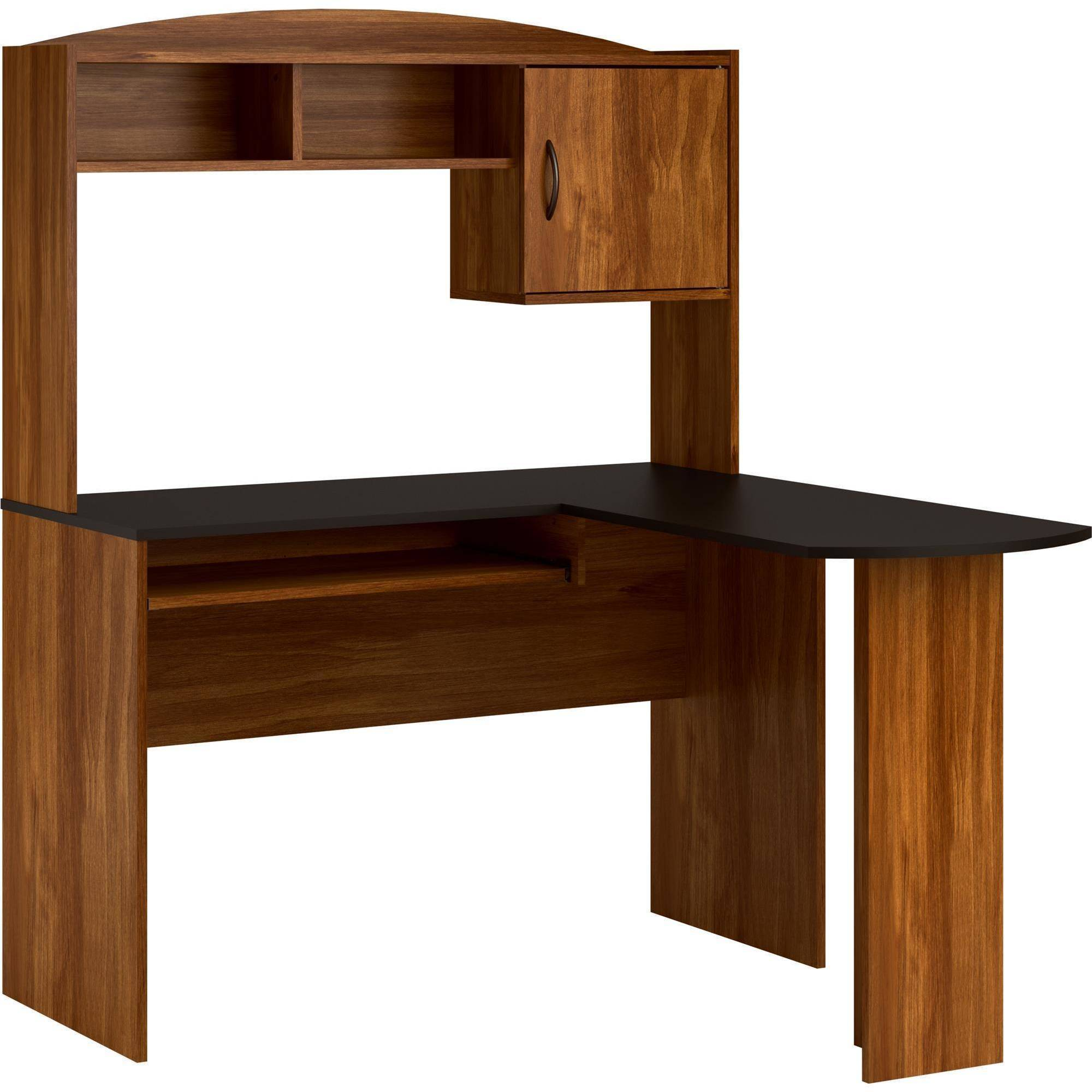 l shaped desk mainstays l-shaped desk with hutch and leather mid-back chair value bundle  - CSMAEFQ