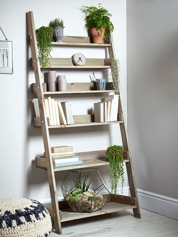 ladder shelves new rustic wooden ladder shelf - wide - furniture YBGSRKO
