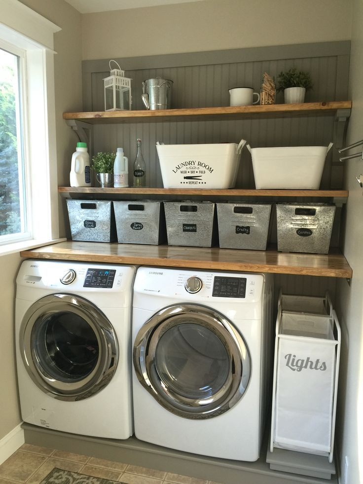 laundry room ideas laundry room makeover. wood counters, walmart tin totes, pull out laundry  bins. PJZNUNN