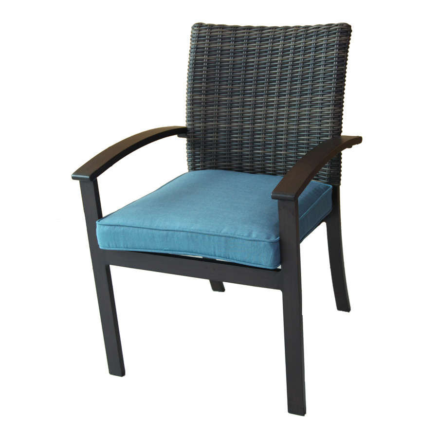 lawn chairs allen + roth atworth 4-count brown wicker patio dining chairs with peacock PXFFSOI