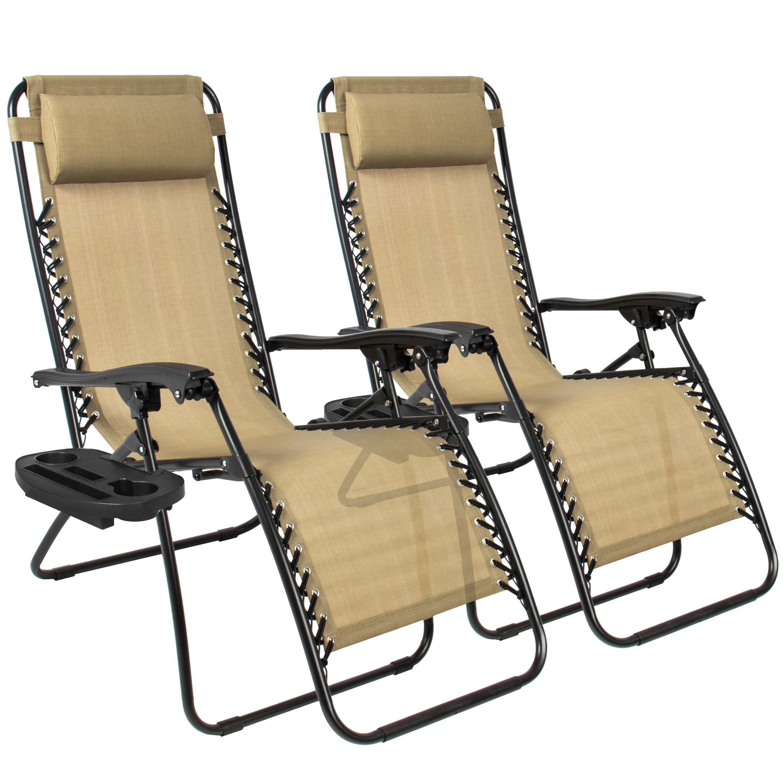 lawn chairs zero gravity chairs case of (2) tan lounge patio chairs outdoor yard beach ZZMTMJQ