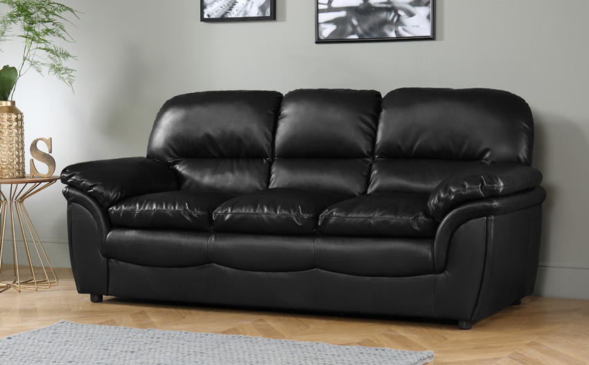 leather sofas rochester black leather 3 seater sofa TRAGHLV