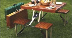 leisure season portable folding picnic table, medium brown - walmart.com BBQZKOJ