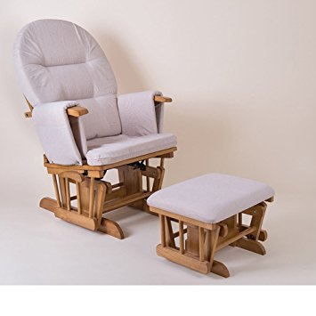 little house reclining glider chair and footstool nursing chair-natural  wood and beige BHBQUBI