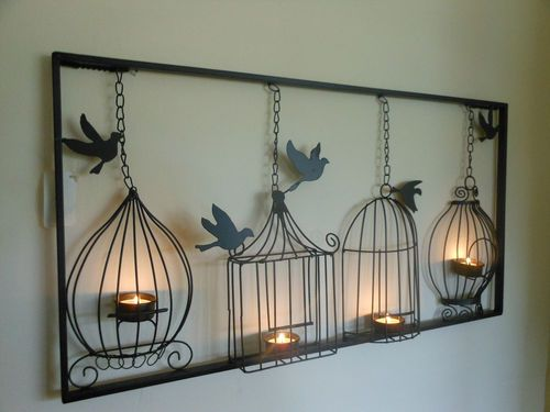 metal wall art birdcage tea light wall art, metal, wall hanging, candle holder, black bird ONHPSVL
