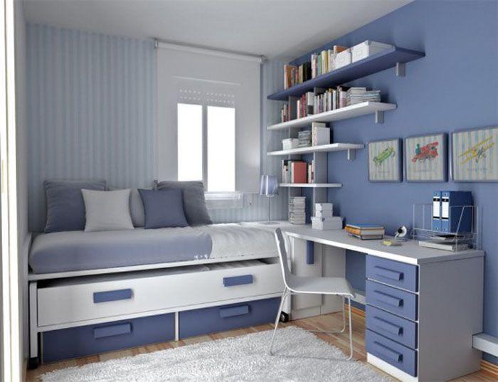 modern teen boys bedroom furniture for small room with blue scheme TSAWYIM