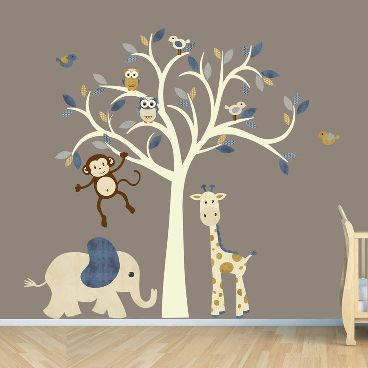 monkey wall decal, jungle animal tree decal, nursery wall decals, elephant,  giraffe PUSWLZE