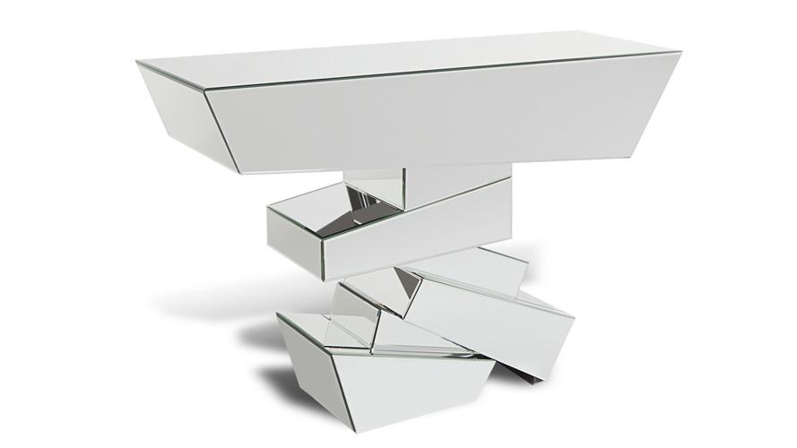 naxos glass mirrored console table | zuri furniture UXPKQMR