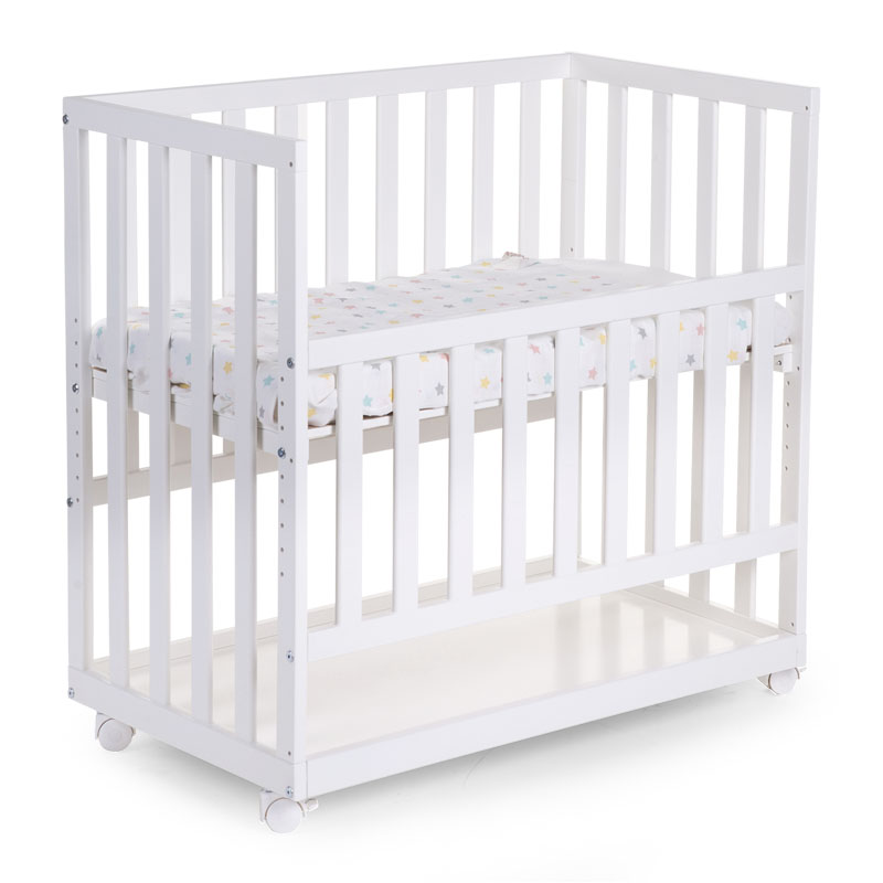new bedside crib beech white 50x90 + wheels 3870 JNOXEMA