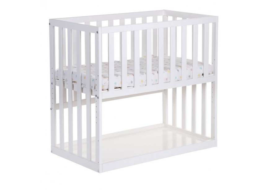 new bedside crib beech white 50x90 + wheels 3870 PFESRMS
