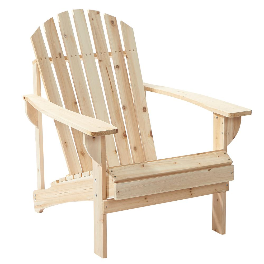 null unfinished stationary wood outdoor adirondack chair (2-pack) EHOYIVE