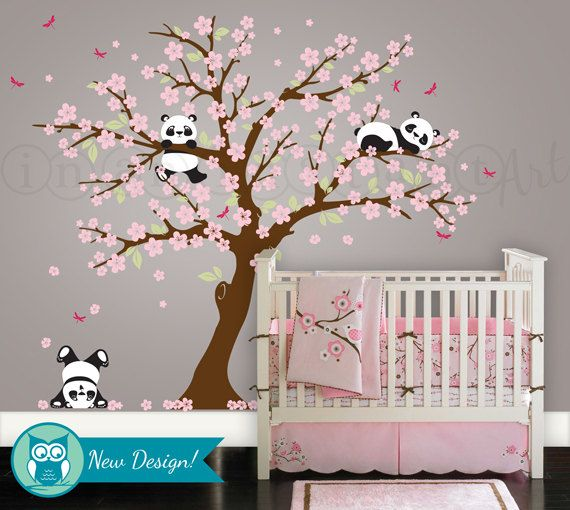 nursery wall decals panda wall decal, playful pandas in cherry blossom tree | custom nursery VDAMYPE