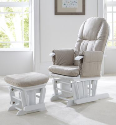 nursing chair tutti bambini deluxe reclinable glider chair and stool - white ECNHKXU