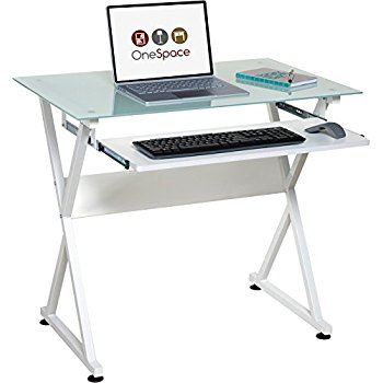 onespace 50-jn1201 ultramodern glass computer desk with pull-out keyboard  tray, white QDHLRUQ