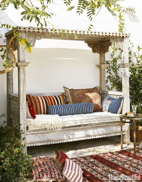 outdoor daybed need a covered daybed! vintage textiles enliven an indonesian daybed; seat  cushion NXQGUBW