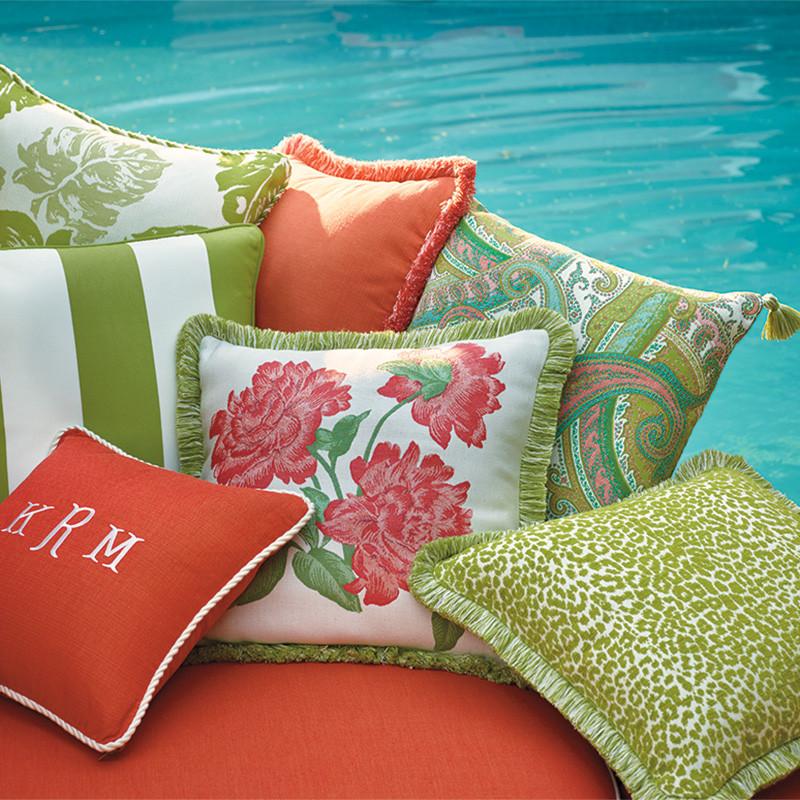 outdoor pillows pillow talk: pops of color go outdoors QZJJNLJ