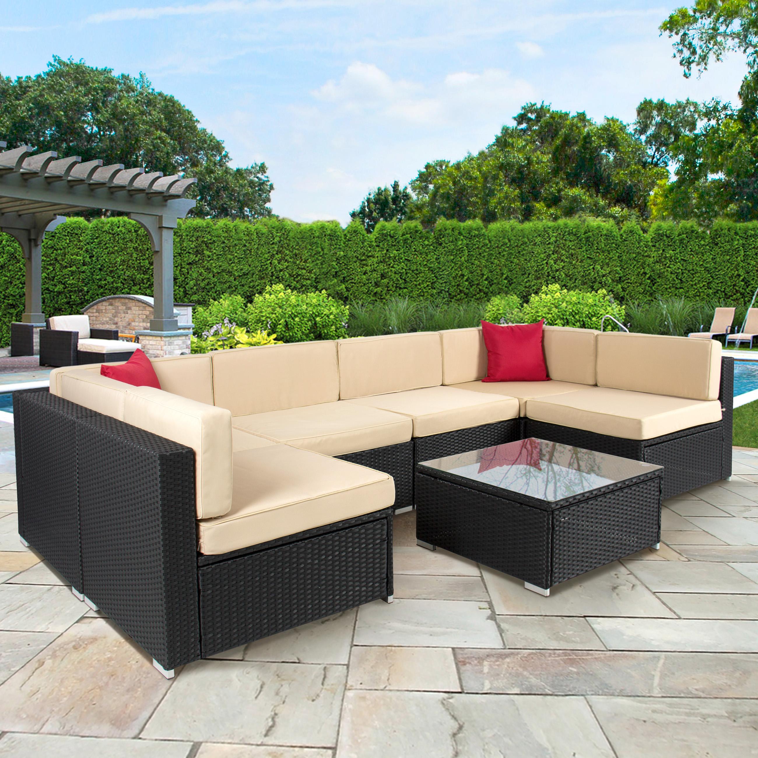 outdoor wicker furniture 4pc outdoor patio garden furniture wicker rattan sofa set black -  walmart.com KDIJACT