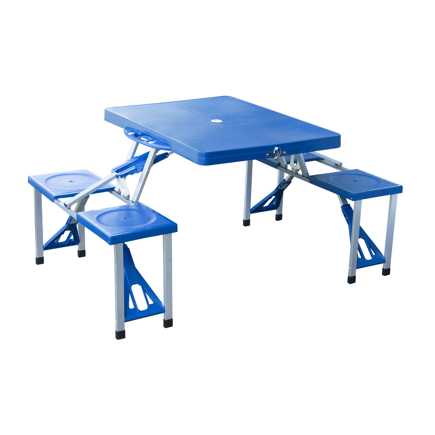 outsunny outdoor portable suitcase folding picnic table w/ 4 seats - blue AFIOSWT