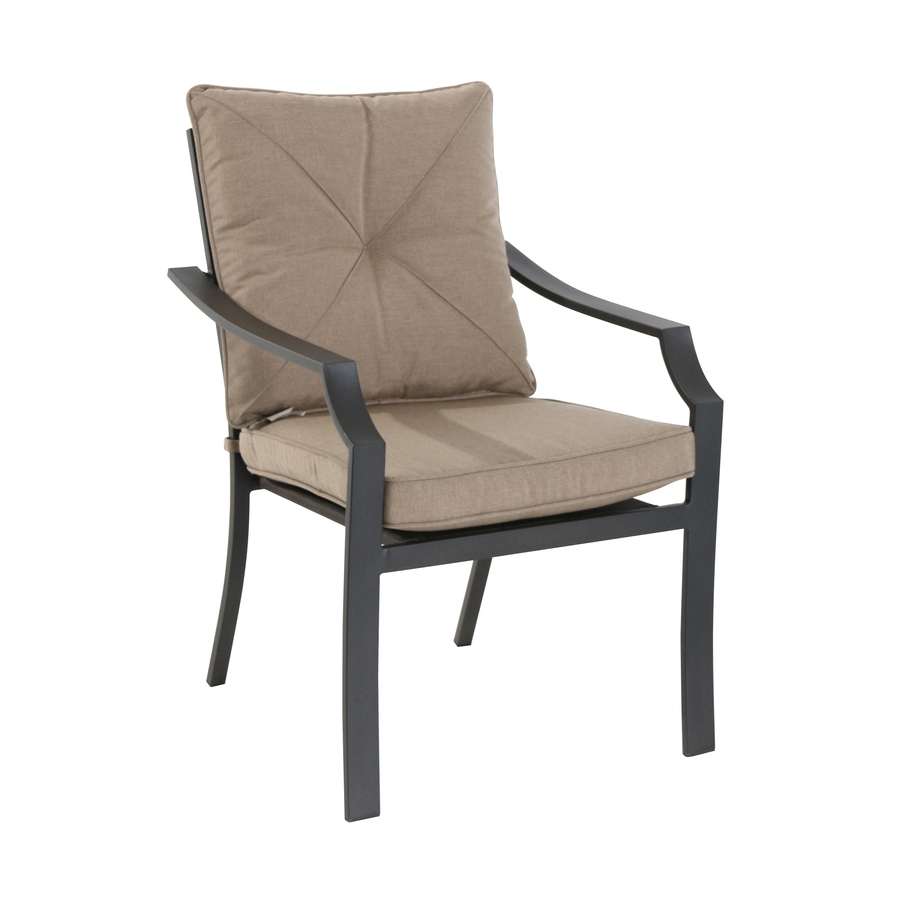 patio chairs garden treasures vinehaven 4-count metal stackable patio dining chair with  cushion(s) PVDLYHS