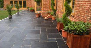 patio slabs blue-black slate paving slabs - natural patio stone -new grey sawn garden JRYOANM