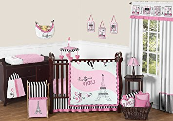 pink, black and white stripe paris baby girl bedding 11 piece french eifell HEVFKWX