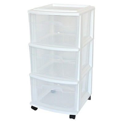 plastic storage drawers 3-drawer medium storage cart clear/white - room essentials™ IUTSHHR