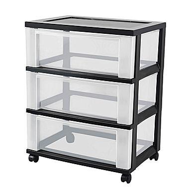 plastic storage drawers iris® 3 drawer wide plastic storage drawer cart, black (124007) WPXNHMN