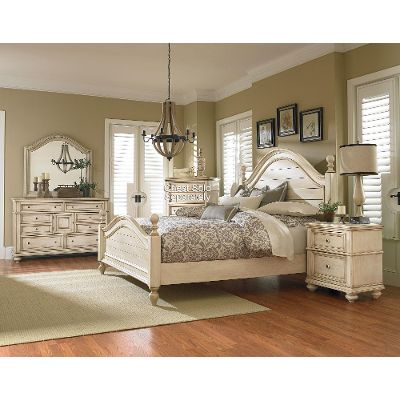 queen bedroom sets antique white 6-piece queen bedroom set - heritage ZIMNKZJ
