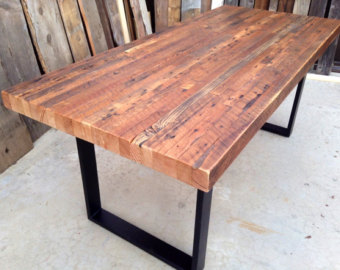 reclaimed wood dining table custom outdoor/ indoor exposed edge rustic industrial reclaimed wood dining  table / CIBWGBT