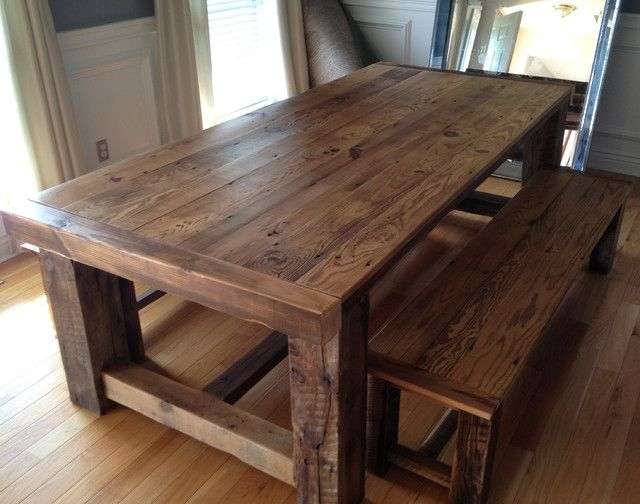 reclaimed wood dining table traditional barn wood dining room table with bench TJHXCHB