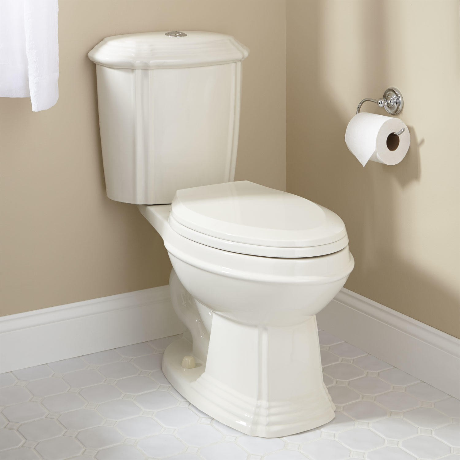 regent dual-flush water closet - biscuit elongated bowl FEMFZVO