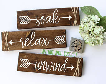 relax soak unwind - bathroom wall decor - farmhouse bathroom - rustic bathroom RBQMNAA