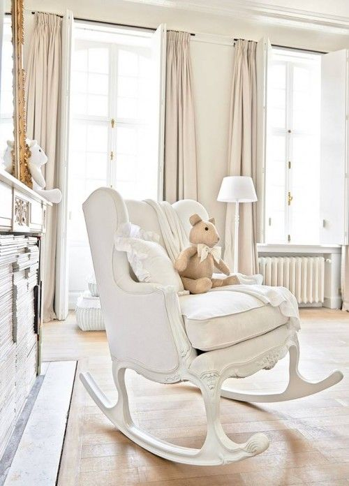 rocking chair for nursery creamy white baby nursery with romantic shabby chic decor. rocking chair ... XBUBTKE