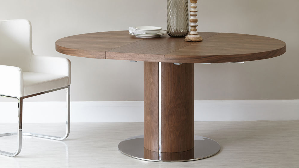 round walnut extending dining table pedestal base uk CPTHNGY